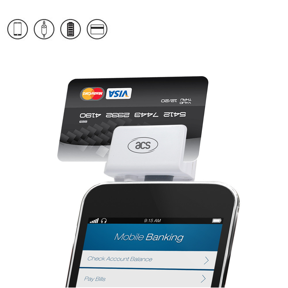 ACR31 mobile Swipe Magstripe Card Reader for moblie bank payment readable security Hico Lo co Magstripe cards
