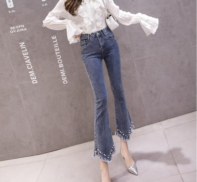 High Waist Women Jeans Flare Pants Tessal Bead Slim Fashion Pants High Waist High Elastic Ankle-Length Denim Trousers 20