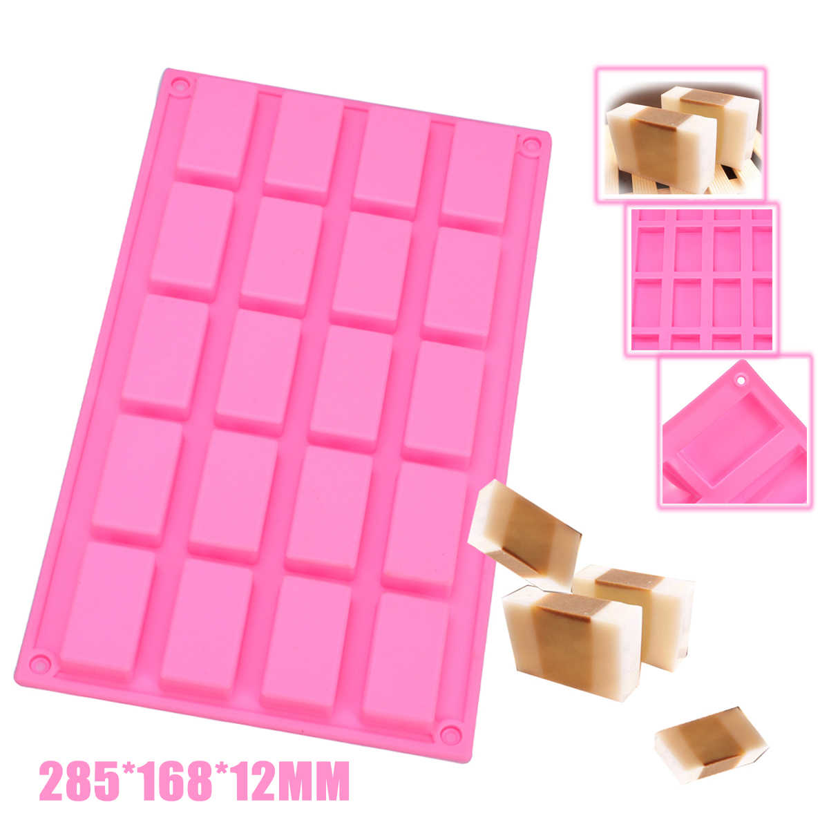 1pc New Silica Gel Chocolate Mold Soft 20 cell Sample Size Mini Candy Jelly Chocolate Bar Guest DIY Soap Silicone Mould