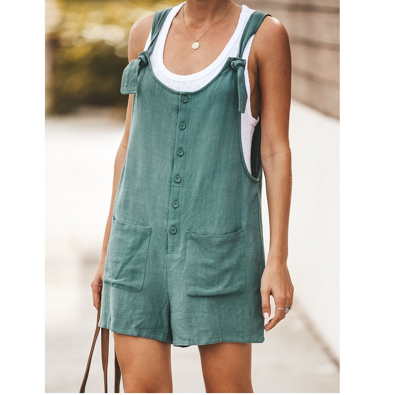 Women Summer Cotton Linen Strappy Straight Short Romper 2019 New Wide Leg Casual Loose   Jumpsuit   Overalls Short Bib Pants