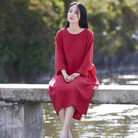 4 color Women Vintage Long sleeve Double layer Cotton linen Dresses Robe Plus size Loose With pocket Causal flax irregular Dress
