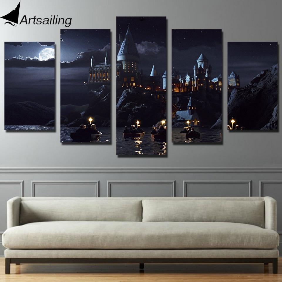 HD Printed 5 piece canvas Harry Potter School Castle Hogwarts