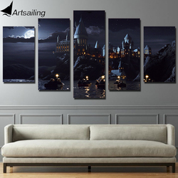 Hd printed 5 piece canvas harry potter school castle hogwarts painting room decor posters and prints.jpg 250x250