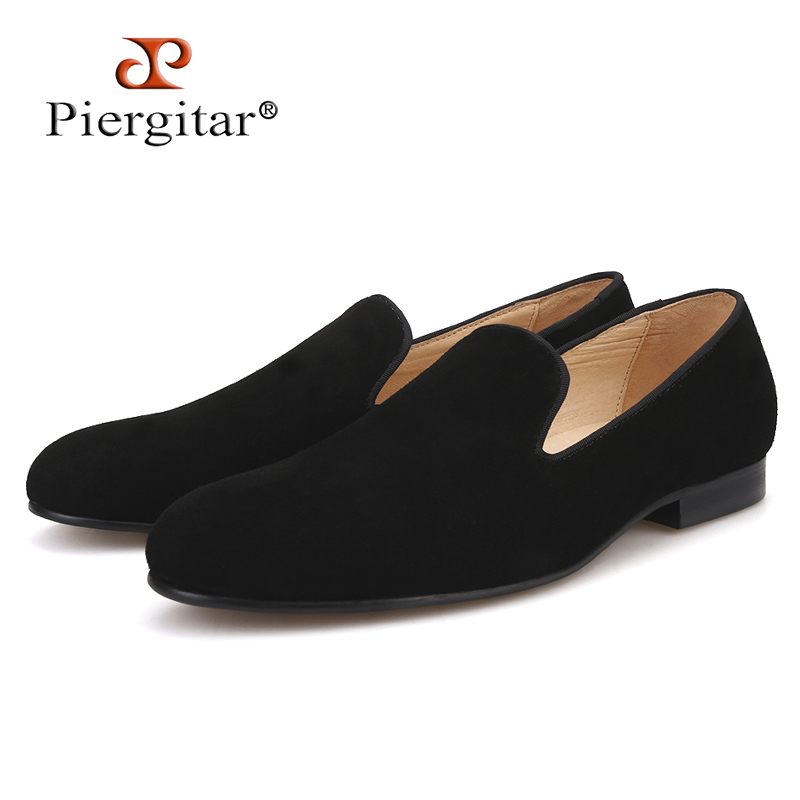 Piergitar 2019 New Handmade Black colors men suede shoes British classic style men smoking slippers leather insole men's loafers