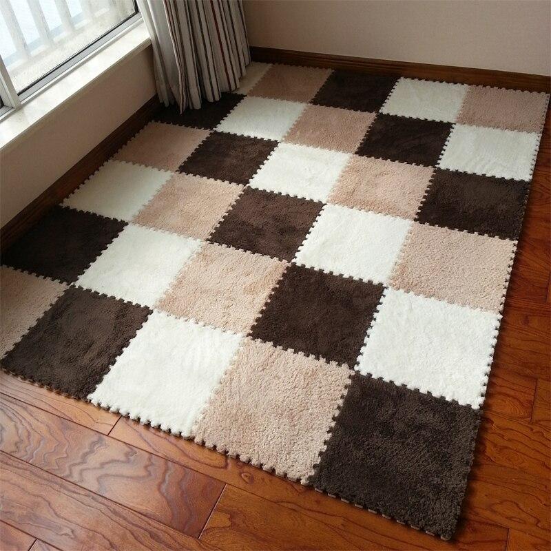 neeu puzzle play mat eva foam shaggy velvet carpet jigsaw mat plush fabric carpet area rug - Area Carpets