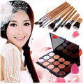 Hot Sale Makeup Set 15 Color Concealer Palette + 11 Pcs Brushes + Teardrop-shaped Puff Makeup Contour Palette #BP15112