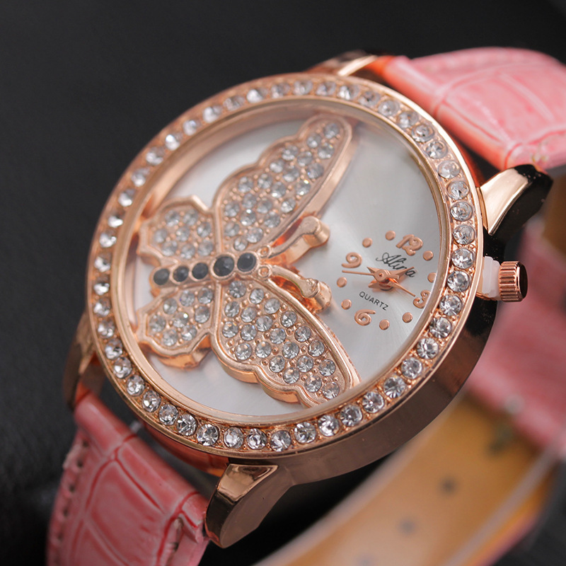 2019 New Elegant Delicate Rhinestone Butterfly Insect Animal Quartz Watch Casual Leather Woman Watch Birthday Gift Preferred