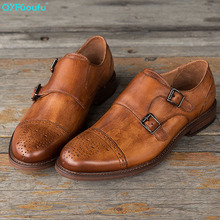QYFCIOUFU 2019 Luxury Mens Dress Shoes Casual Business Brand Wedding Italian Formal Double Monk Strap