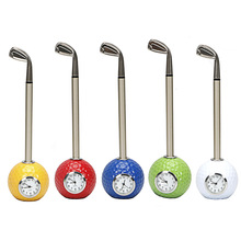 golf gift Golf club shape Ballpoint Pen with ball clock promotional desktop
