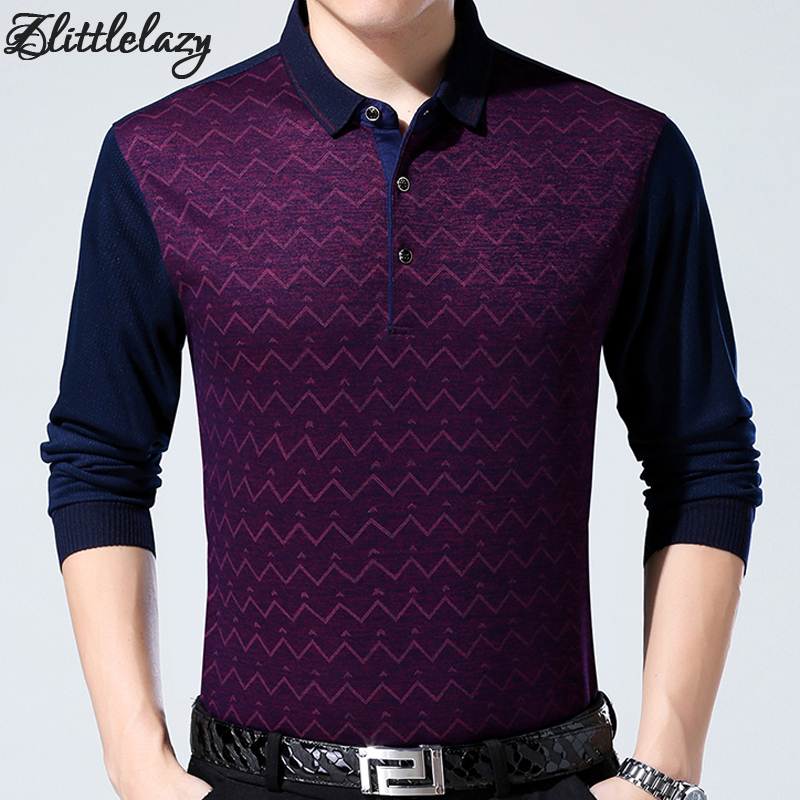 2018 brand fashion slim fitness winter thick long sleeve   polo   shirt men pol wavy line casual cotton mens   polos   shirts clothing