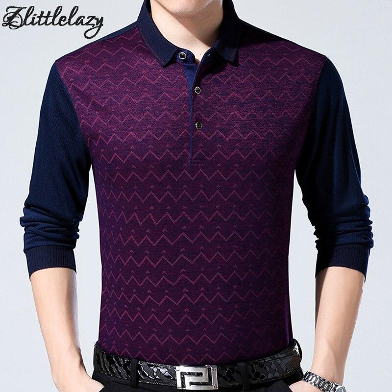 2019 brand fashion slim fitness winter thick long sleeve   polo   shirt men pol wavy line casual cotton mens   polos   shirts clothing