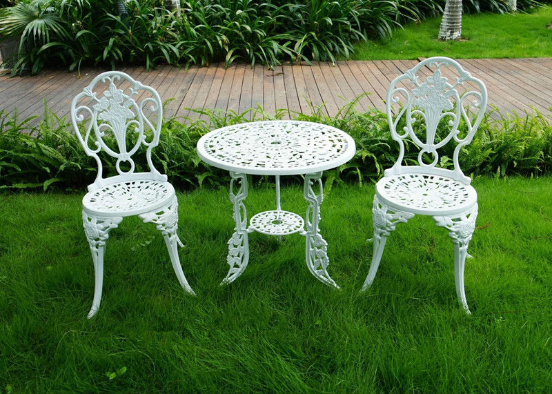 3 piece white bistro patio set table and 2 may chairs set for White patio table