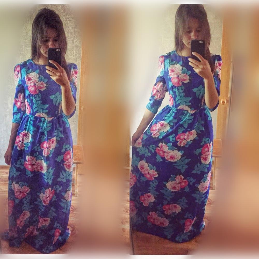 New 2015 Fashion Women Bohemian Blue Summer Maxi Dress Three Quarter Sleeve  O neck Flower Print Party Long Dress vestidos longos-in Dresses from  Women s ... 73e8f5f8c