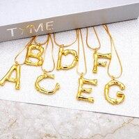 Wholesale 12pcs/bag Ship By Random Statement Bamboo A Z Pendant Letter Necklace Hammered Matte Gold Z Initial Alphabet Necklace