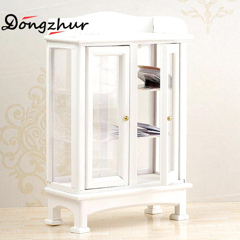 living room glass display cabinets round table with storage 1 12 dollhouse accessories miniature furniture model white wood cabinet cupboard decoration in doll houses from toys
