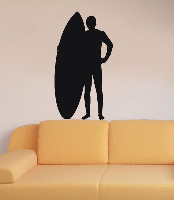 Surfer Surf Board Sports Silhouette decoration living room wall ...