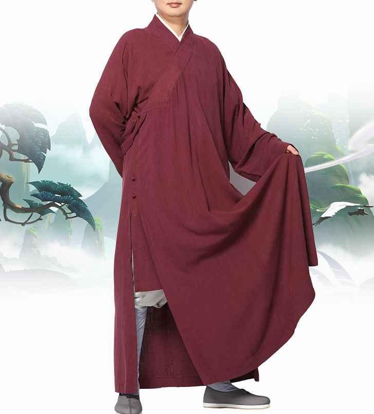 ユニセックス 6 色コットン & リネン仏教禅服少林寺僧侶のカンフーローブレイ制服瞑想スーツブルー/ 赤/コーヒー/グレー