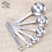 TTLIFE 6pcs Stainless Steel Measuring Spoons Cups Measuring Set Tools For Baking Coffee 6 sizes Spoons Set Cooking Tool Gadgets