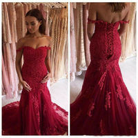 Burgundy Lace Appliques Mermaid Long Prom Dresses Formal Evening Gowns Custom