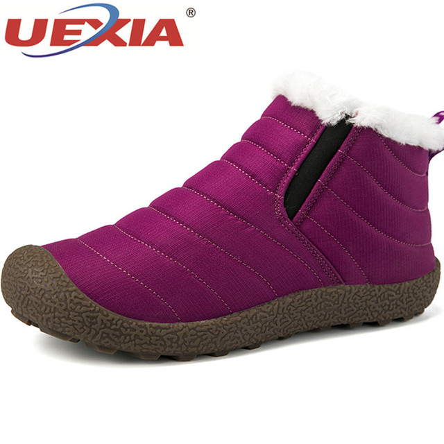 UEXIA Plus Size 46 Ankle Boot Casual Footwear Shoes Women Snow Boots Footwear Rubber 2018 New Winter Snow Boots Super Warm Plush