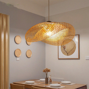 Image 4 - Bamboo LED E27 Wicker Rattan Wave Shade Pendant Light Vintage Japanese Lamp Suspension Home Indoor Dining Table Room Lighting