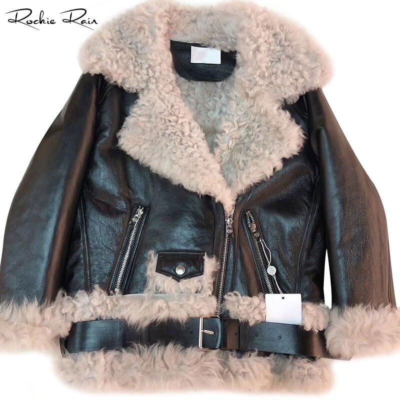 Women Real Fur Coats Sheep Leather Shearling Jackets Lady's Fashion Long Sleeve Zipped Outerwear Fall Winter Warm Overcoat