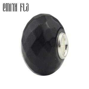Image 1 - Abalorios de abalorios naturales negros facetados, auténticos abalorios de plata de ley 925 aptos para pulseras europeas, abalorios de moda para fabricación de joyas