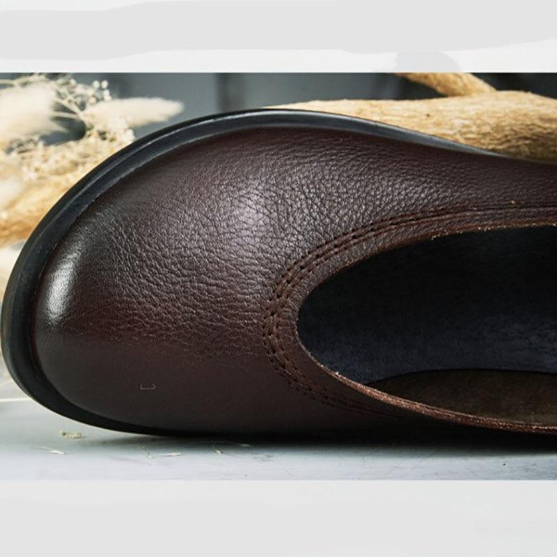 Solo De Cáñamo A Cuero Algodón Plana Zapatos Hecho Retro Zapato Capa Coffee Redonda Y Cabeza Artística Prendas Piel Mujeres Vestir Cómoda Mano Las Vaca 8Etqnnwd1