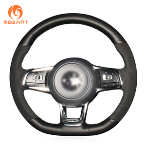 Image 2 - MEWANT Black Genuine Leather Hand Sew Steering Wheel Cover for Volkswagen VW Golf 7 GTI T Roc Passat Variant (R Line) Up! GTI