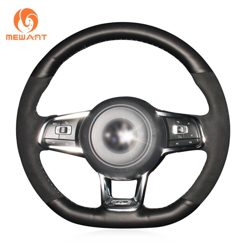MEWANT noir daim bricolage main coudre couverture de volant de voiture pour Volkswagen VW Golf 7 GTI Golf R MK7 VW Polo GTI Scirocco 2015 2016 - 2