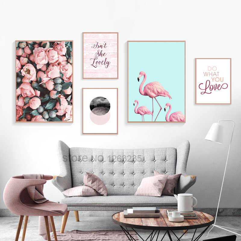 Nordic Poster Rose Flowers Cuadros Wall Pictures For Living Room Posters And Prints Flamingo Wall Art Canvas Painting Unframed
