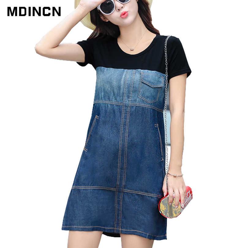 9d5bac44498d813 2019 Весна и лето новое слово платье повседневное шить платье из джинсовой  ткани Корейская версия женское