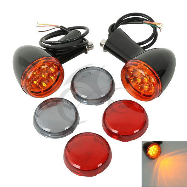 Motorcycle Rear Amber LED Turn Signals Lights Bracket Indicate Light For Harley Sportster XL 883 1200 1992-2017 Black Chrome 2 x chrome motorcycle bullet amber turn signal light indicator fits for harley sportster iron 883 1200 xl bobber chopped 883n page 4