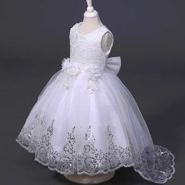 Girls Dress Princess Party Dresses Front Long Back Wedding tutu ...