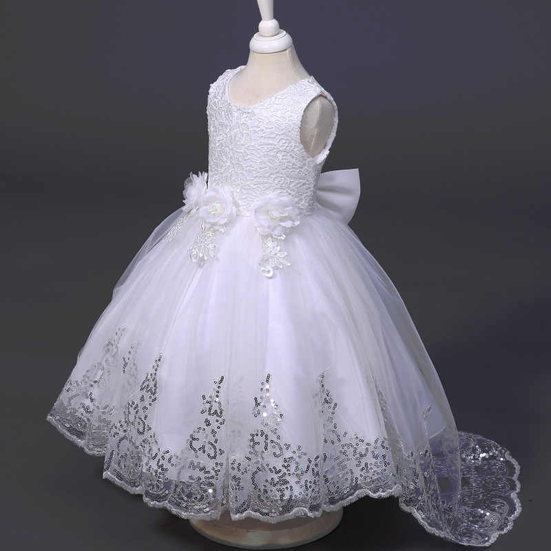 0ffa0ac7cc534 Girls Dress Princess Party Dresses Front Long Back Wedding tutu dress Lace  Toddler girl's clothes Style Children clothing