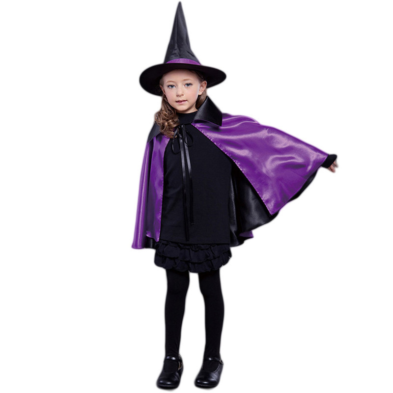 Hight Quality Halloween Cosplay Witch Cloak Cape for Adult Kids Double Party Show Halloween Costume + Cap Christmas Costumes