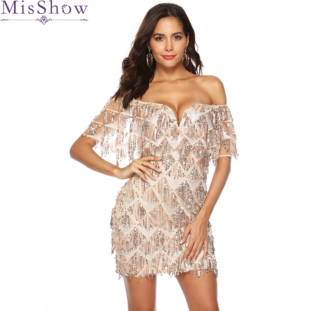 Sexy Short Mini Cocktail Dresses 2019 Sequined Tassel Half Sleeve Off The Shoulder Formal Party Dress Robe De Cocktail Prom Gown