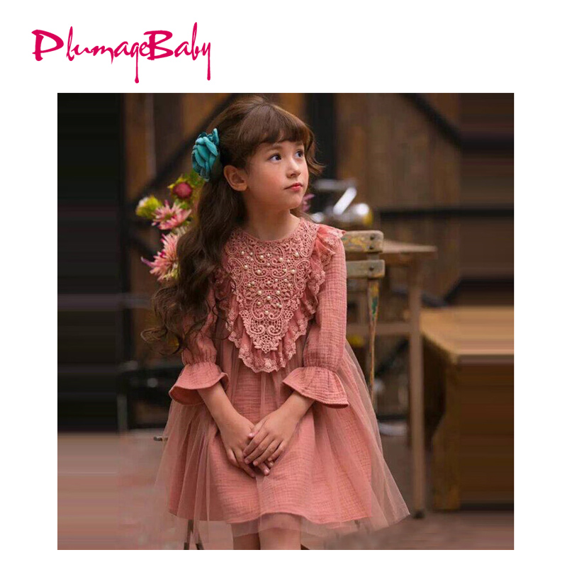 2017 New High Quality Baby Girl Korean Style Mesh Lace Dress Kids Children Clothing Princess One Piece with Flare Sleeve free shipping new arrival children s clothing child one piece dress twinset winter dress good quality coat dress