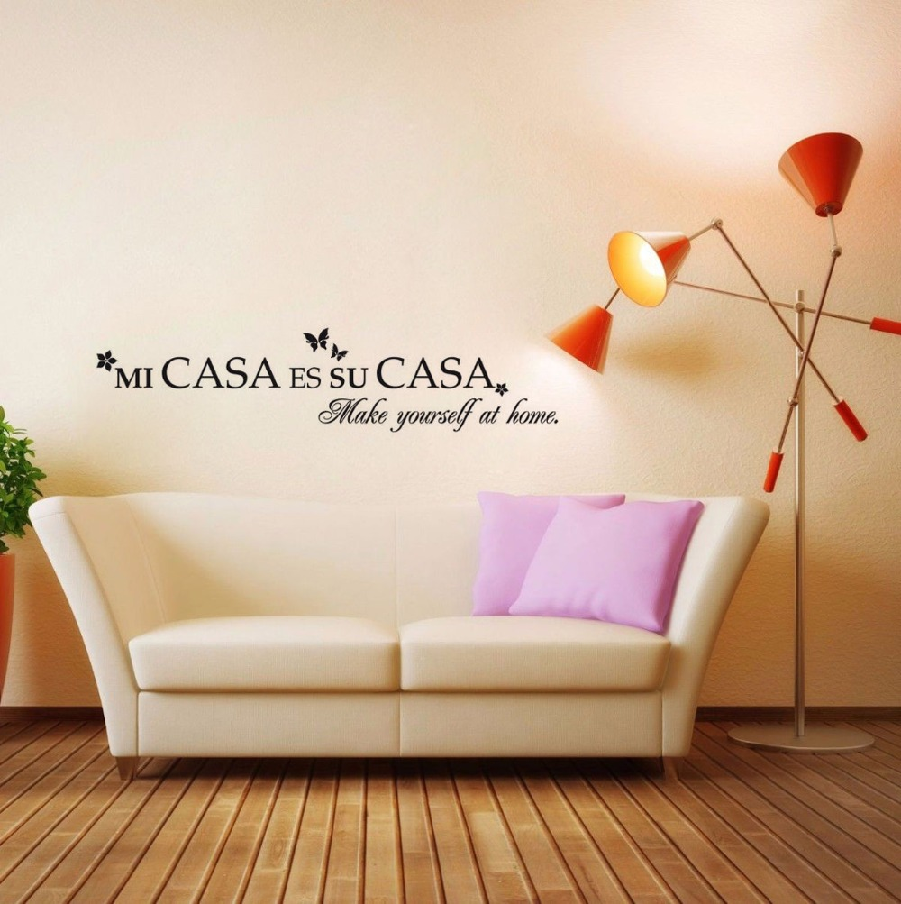 spanish quotes vinyl art wall sticker home living room decoration wall mural make yourself at. Black Bedroom Furniture Sets. Home Design Ideas