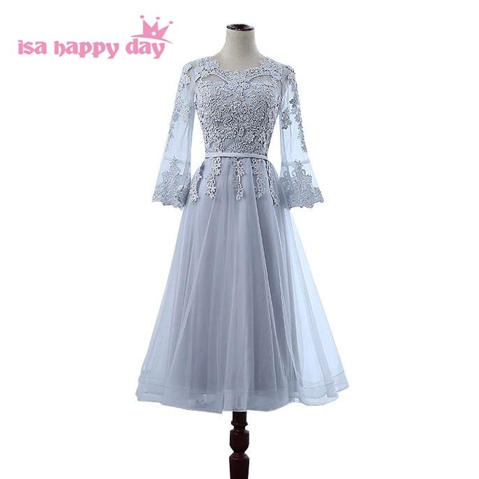 modest elegant gray neckline applique modest prom party dresses latest short gown with sleeves women dinner dress H4210