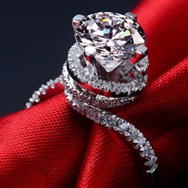 Genuine 585 White Gold Torsion Arms Style Glorious 2Ct Synthetic Diamonds Anniversary Ring Gorgeous Female Engagement