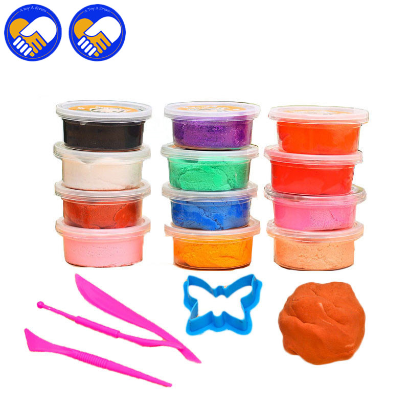 A TOY A DREAM 12pcs DIY Craft Soft Polymer Modelling Clay Plasticine Sand Educational Toy For Kids foam Fimo Polymer Clay Toys