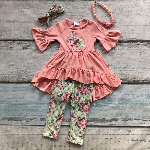 f09dd6c1103f cotton bunny baby Easter silk milk outfit girls SUMMER capris clothes coral  floral boutique RUFFLE with