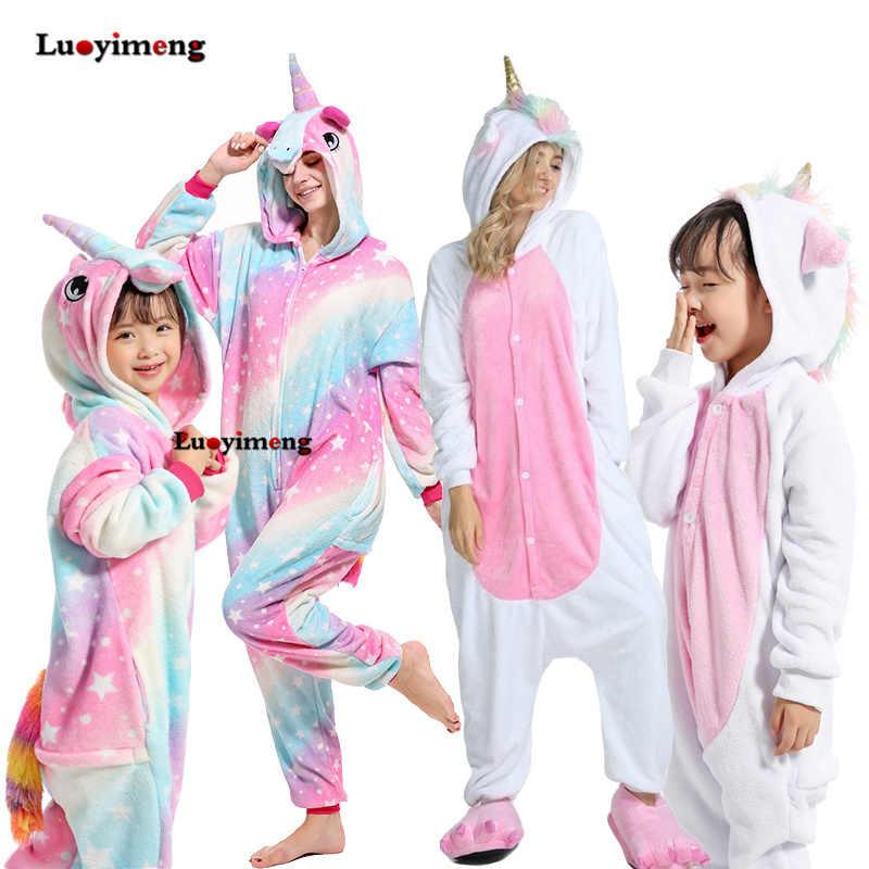 Кигуруми для детей пижамы для девочек костюм единорога для детей в виде животного, Стич, комбинезон-панда для взрослых, одежда для сна зимняя фланелевой комбинезон Комбинезоны