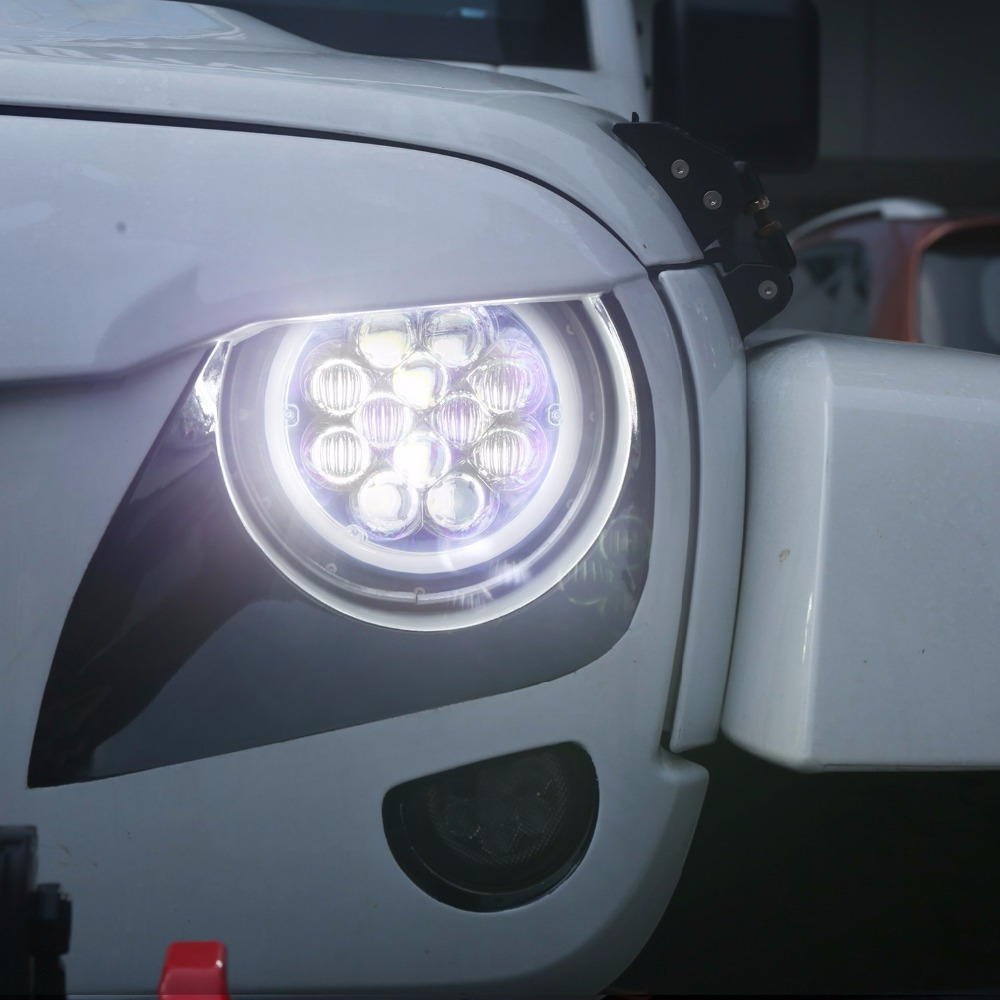 где купить 7inch Halo LED Healights w/ Blue DRL Angel Eyes for 07 - 17 Jeep Wrangler JK & Wrangler Unlimited по лучшей цене