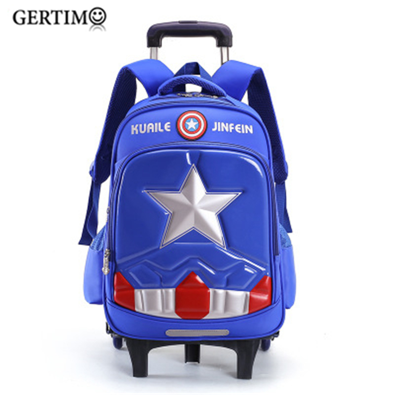 New Children's Boys Girls School Trolley Backpacks With Wheels Removable Children Elementary School Satchel Bags Travel Luggage