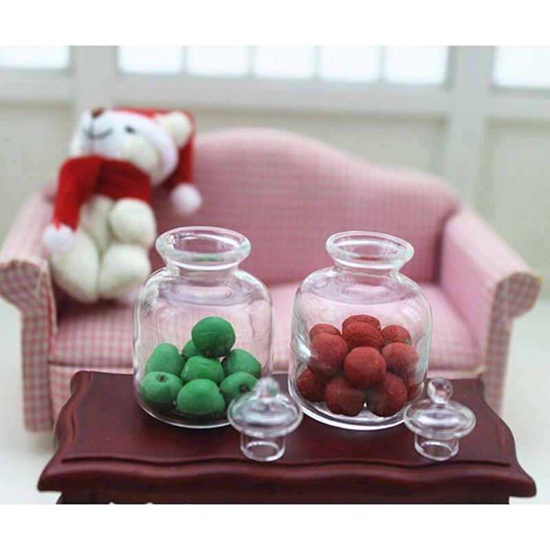 1 Pcs 1/12 Puppenhaus Miniatur Zubehör Mini Glas Simulation Obst Topf Spielzeug Puppe Haus Dekoration
