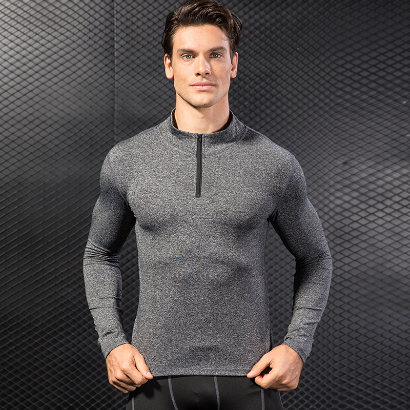 Half Zip Stretch Quick-drying Collar Boxing Compression Tops CrossFit Trainning Shirts Gym Weight Lifting Running Man T Shirts