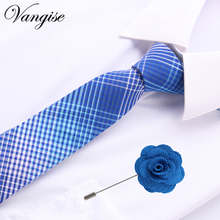 купить Brand Wedding Cotton Ties&pin set  For Men Suit Skinny Mens Ties Gravatas Slim Corbatas Vestidos Neck Tie Cravat Grooms Necktie дешево