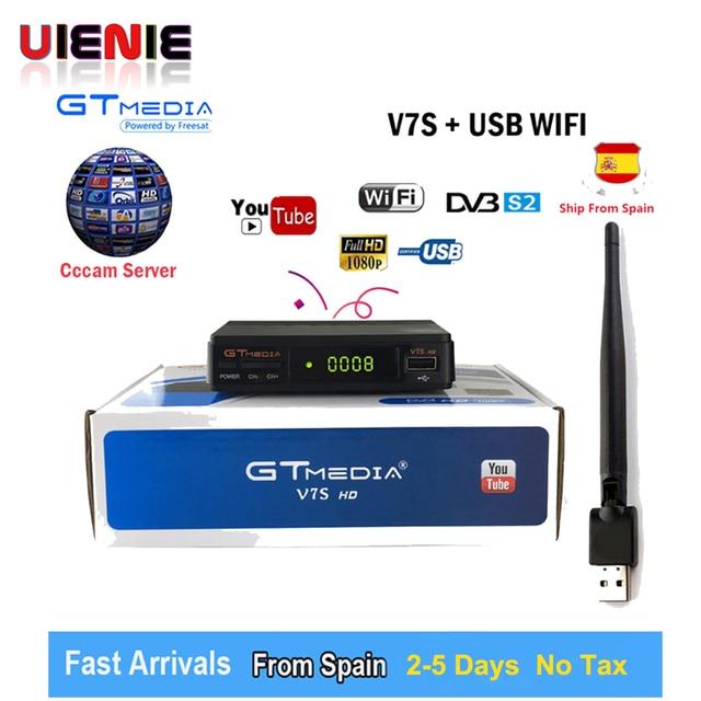 UIENIE Freesat V7S HD DVB-S / S2 satellite Receiver full HD1080P + USB WIFI support Biss, Europe Cccam cline 1 year PK V7 HD